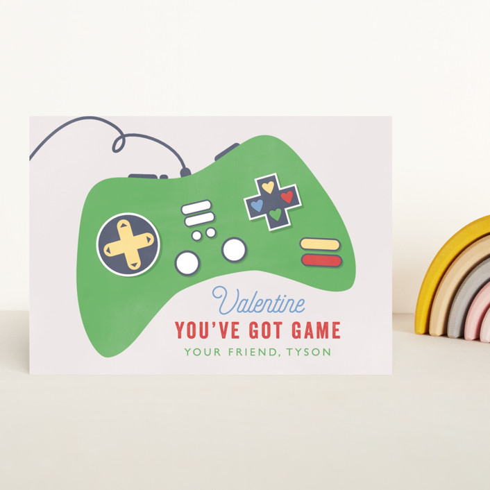 """""""Got Game"""" - Classroom Valentine's Cards in Grass by Bethany Anderson."""