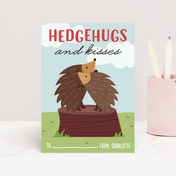"""Hedgehugs"" - Classroom Valentine's Cards in Moss by Erica Krystek."