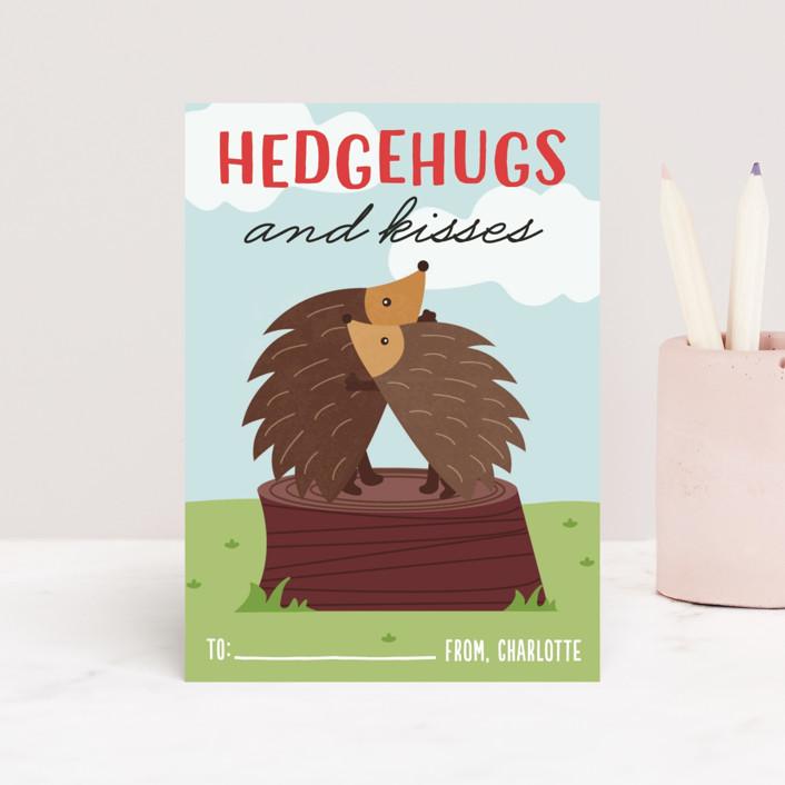 """Hedgehugs"" - Classroom Valentine's Cards in Sky by Erica Krystek."