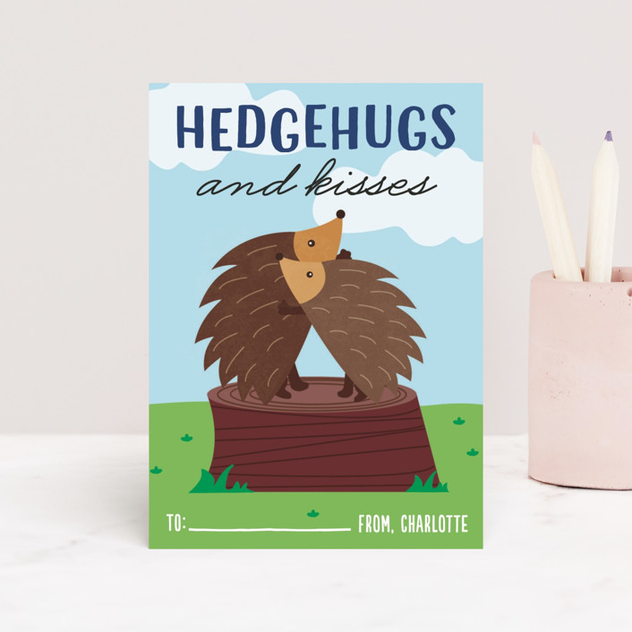 """Hedgehugs"" - Classroom Valentine's Cards in Sky by Erica Krystek."