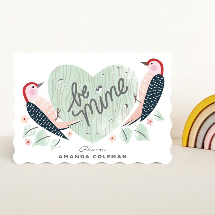 """""""Woodpecker Greeting"""" - Classroom Valentine's Cards in Lichen by Eve Schultz."""
