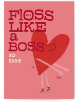 This is a pink kids valentines day card by Baumbirdy called Valentine Floss Boss with standard printing on signature in standard.