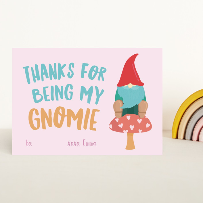 """Gnomie Love"" - Classroom Valentine's Cards in Peony by Tennie and Co.."