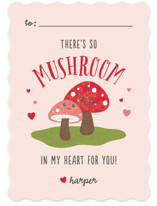 This is a red kids valentines day card by Lehan Veenker called So Mushroom with standard printing on signature in standard.