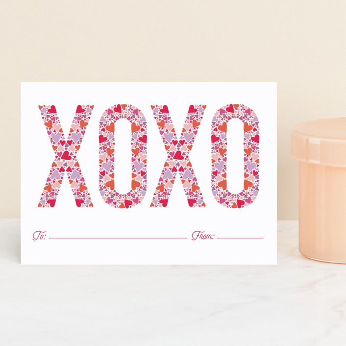 """""""XOXO Hearts"""" - Classroom Valentine's Cards in Hot pink by Ashley DeMeyere."""