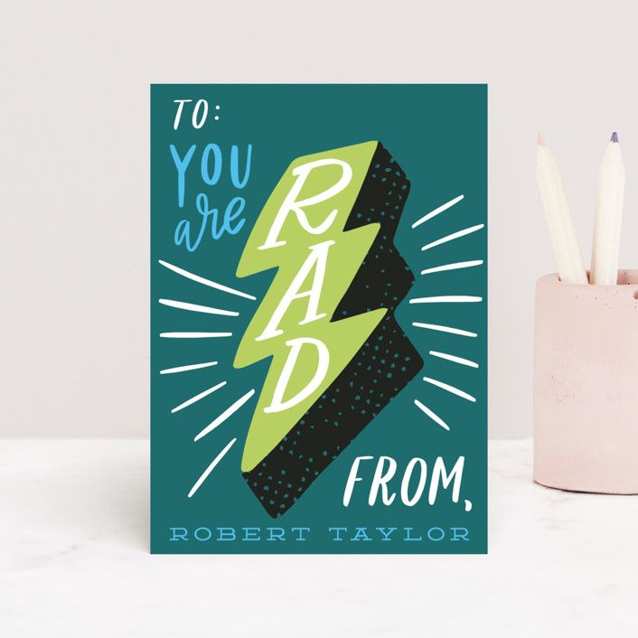 """You are Rad"" - Classroom Valentine's Cards in Emerald by Alethea and Ruth."