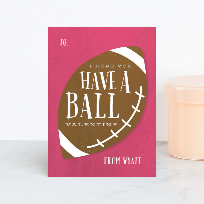 """Have A Ball"" - Classroom Valentine's Cards in Grass by Amy Payne."