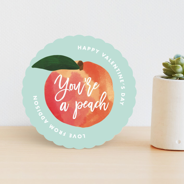 """""""You're a Peach"""" - Classroom Valentine's Cards in Mint by Catherine Culvenor."""