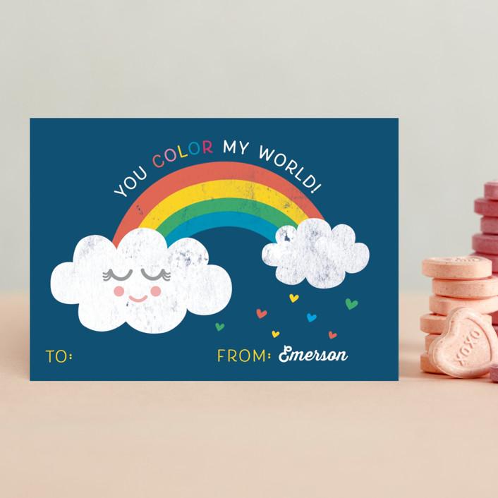 """Rainbow World"" - Classroom Valentine's Cards in Sky by Shirley Lin Schneider."