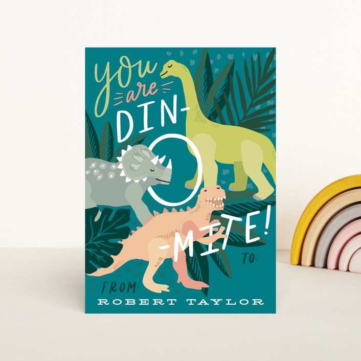 """You are Dino-mite!"" - Classroom Valentine's Cards in Waterfall by Alethea and Ruth."