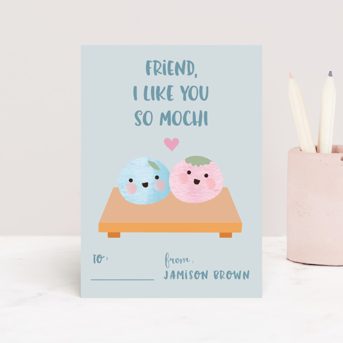 """Like you so mochi"" - Classroom Valentine's Cards in Peach by Kanika Mathur."