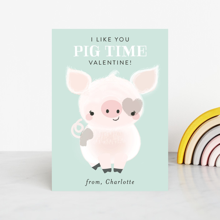 """Pig Time"" - Classroom Valentine's Cards in Aqua by Itsy Belle Studio."