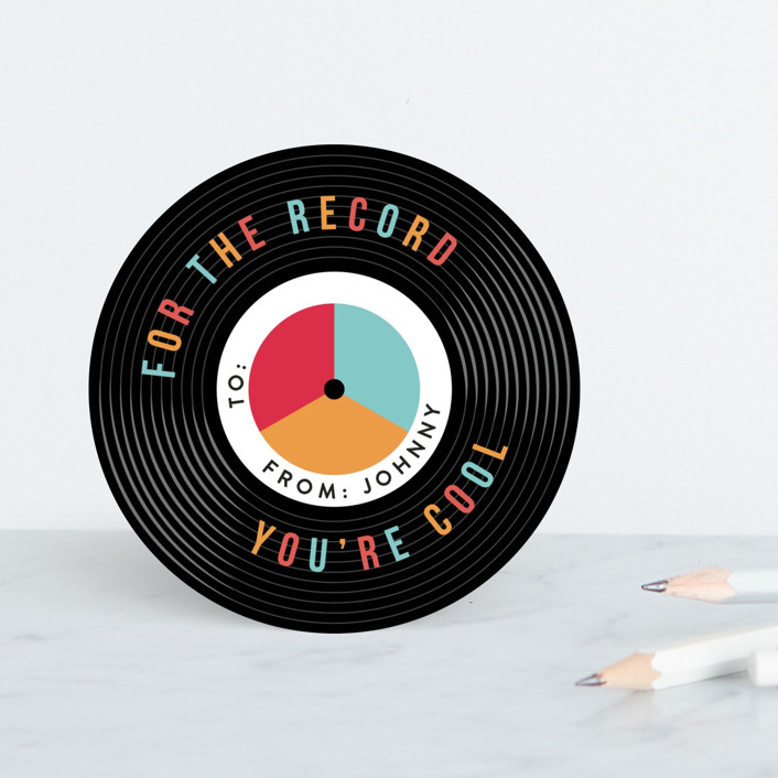 """""""For the Record"""" - Classroom Valentine's Cards in Retro by Robert and Stella."""
