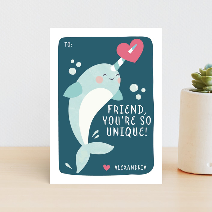 """sweet narwhal"" - Classroom Valentine's Cards in Ocean by peetie design."