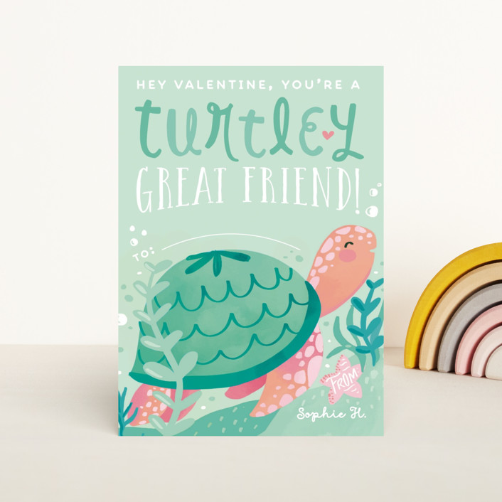 """""""Turtley Great Friend"""" - Classroom Valentine's Cards in Seafoam by Gina Grittner."""