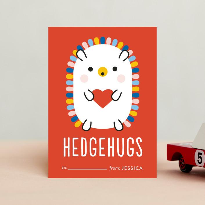 """Rainbow Hedgehog"" - Classroom Valentine's Cards in Crimson by Genna Blackburn."