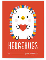 This is a orange kids valentines day card by Genna Cowsert called Rainbow Hedgehog with standard printing on signature in standard.