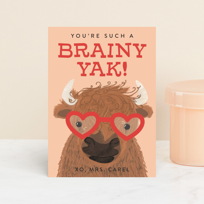 """le Yak"" - Classroom Valentine's Cards in Peachy Keen by Itsy Belle Studio."