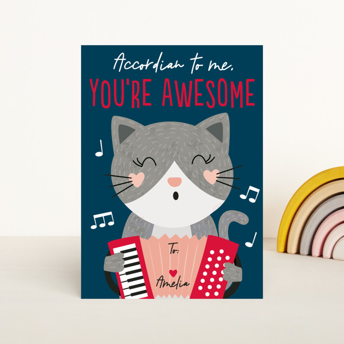"""""""Accordian To Me"""" - Classroom Valentine's Cards in Navy by Erica Krystek."""