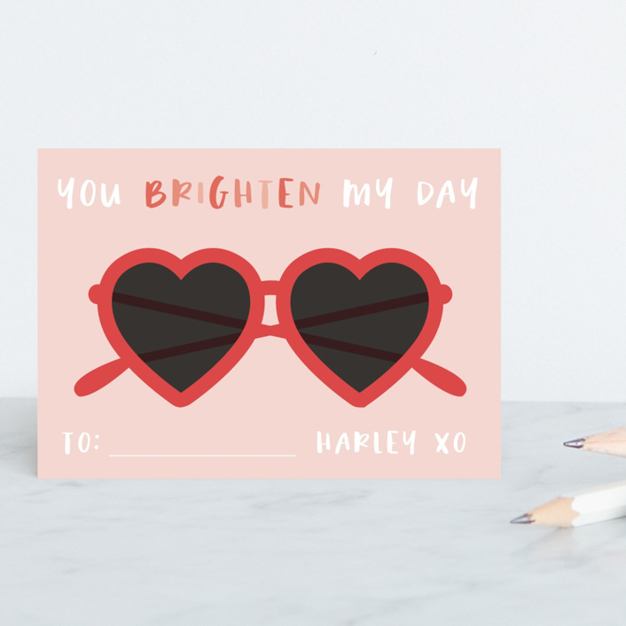 """""""Brighten"""" - Classroom Valentine's Cards in Tomato by Hudson Meet Rose."""