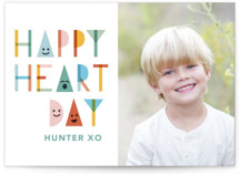 This is a blue kids valentines day card by Hudson Meet Rose called Happy Shapes with standard printing on signature in standard.