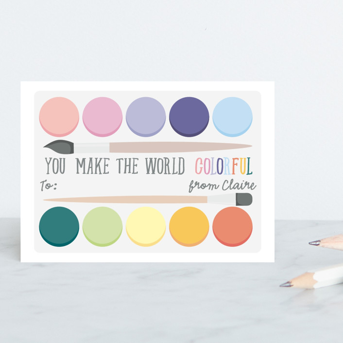 """""""You make the world colorful"""" - Classroom Valentine's Cards in Rainbow by Hudson Meet Rose."""