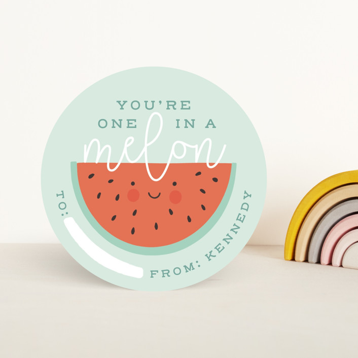 """""""One In A Melon"""" - Classroom Valentine's Cards in Mint by Stephanie Biller."""