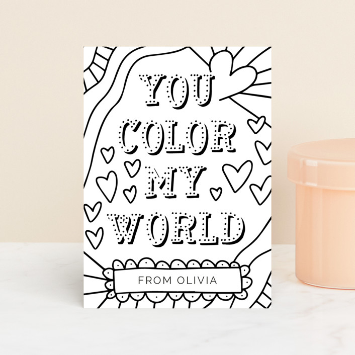 """""""Color My World"""" - Classroom Valentine's Cards in Charcoal by Mayflower Press."""