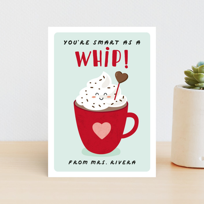 """Smart as a Whip"" - Classroom Valentine's Cards in Mint Cookie by Erica Krystek."