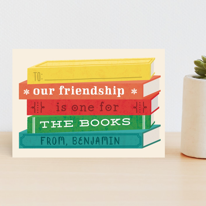 """""""For the Books"""" - Classroom Valentine's Cards in Cream by Erica Krystek."""