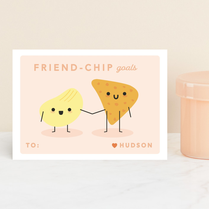 """Friend-chip"" - Classroom Valentine's Cards in Grapefruit by Caitlin Considine."