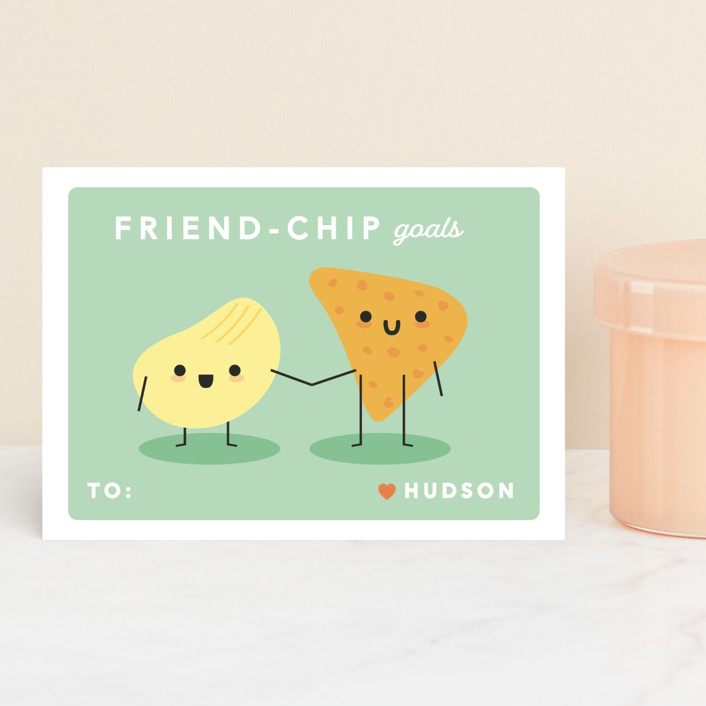 """""""Friend-chip"""" - Classroom Valentine's Cards in Grapefruit by Caitlin Considine."""