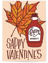 This is a orange kids valentines day card by Erin L. Wilson called Sappy Valentine's with standard printing on signature in standard.
