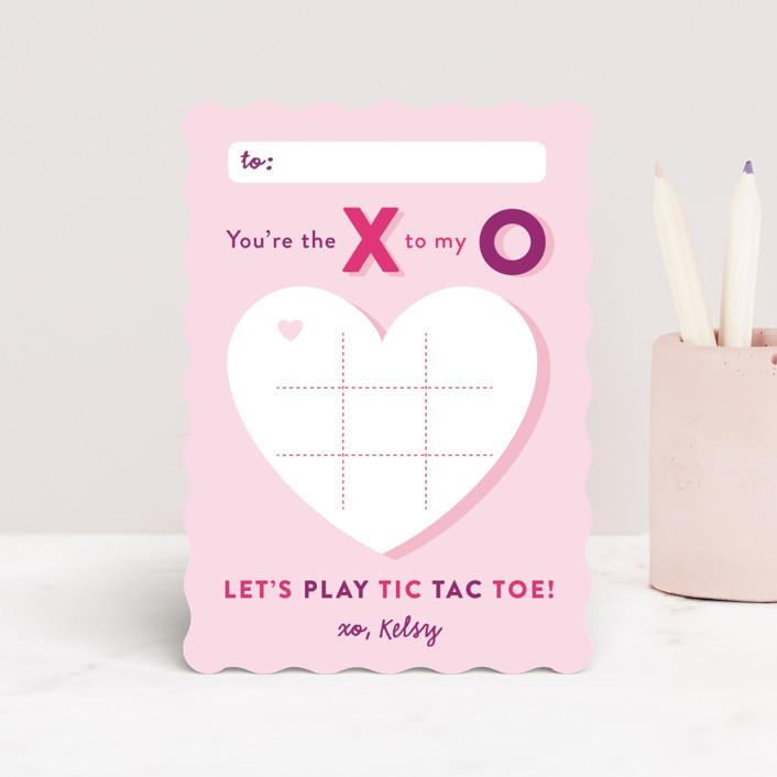 """""""tic-tac-toe"""" - Classroom Valentine's Cards in Bubblegum by Jana Volfova."""