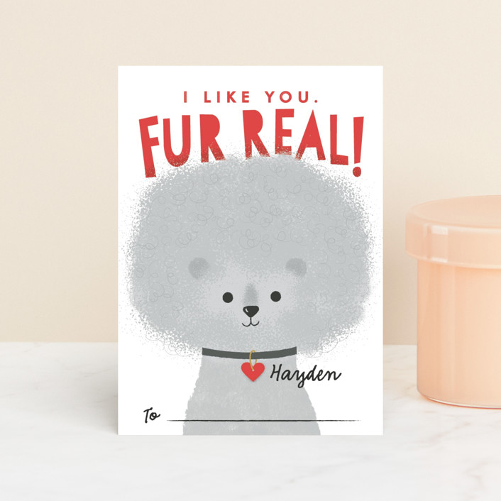 """""""Fur Real"""" - Classroom Valentine's Cards in Smoke by Karidy Walker."""