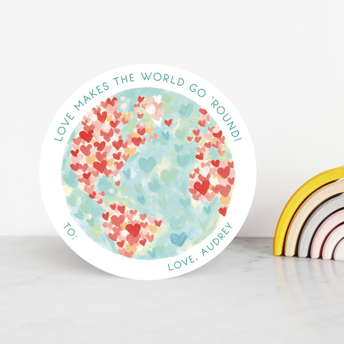 """""""Lovely World"""" - Classroom Valentine's Cards in Fruit Punch by Holly Whitcomb."""