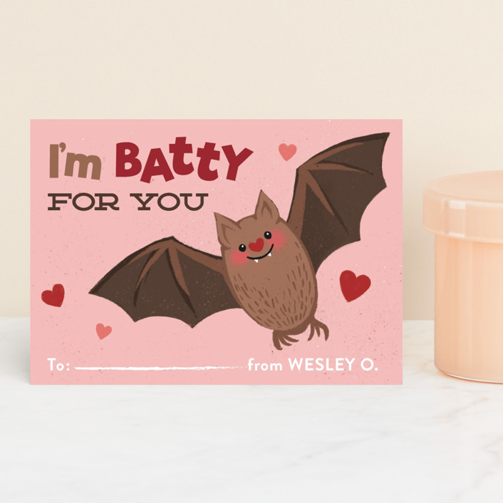 """Batty"" - Classroom Valentine's Cards in Rosebud by Jessica Ogden."