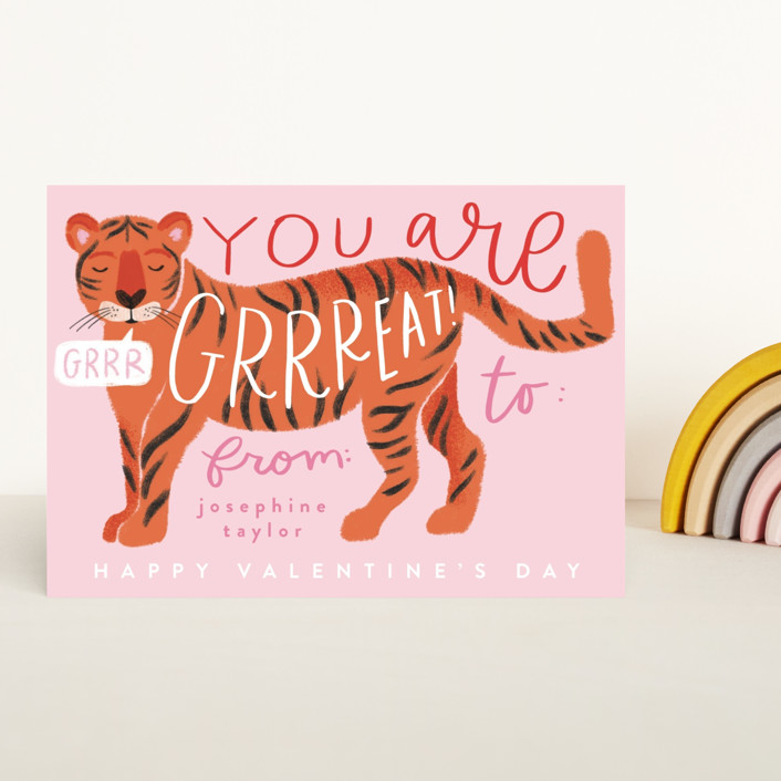 """""""Great Tiger"""" - Classroom Valentine's Cards in Petal by Alethea and Ruth."""