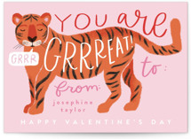 This is a pink kids valentines day card by Alethea and Ruth called Great Tiger with standard printing on signature in standard.