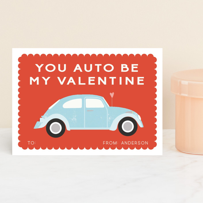 """Automobile Love"" - Classroom Valentine's Cards in Cherry by Morgan Kendall."