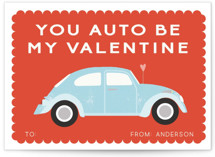 This is a red kids valentines day card by Morgan Kendall called Automobile Love with standard printing on signature in standard.