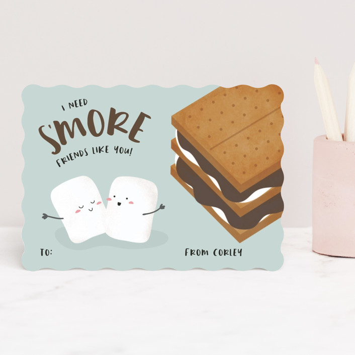 """""""s'more friends"""" - Classroom Valentine's Cards in Seafoam by Faith Dorn."""