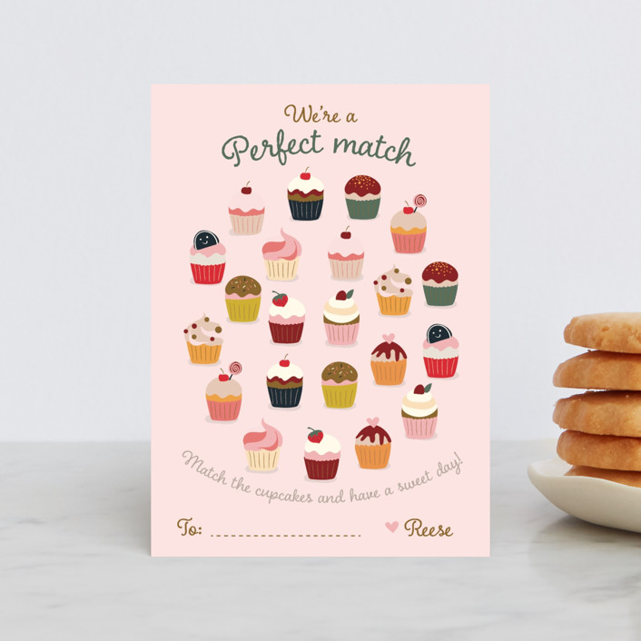 """""""Perfect Match"""" - Classroom Valentine's Cards in Strawberry by Teju Reval."""