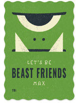 This is a green kids valentines day card by Bob Daly called Beast Friends with standard printing on signature in standard.