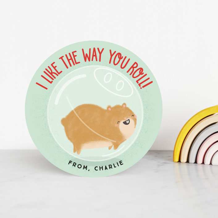 """""""Hamster Roll"""" - Classroom Valentine's Cards in Mint by Itsy Belle Studio."""