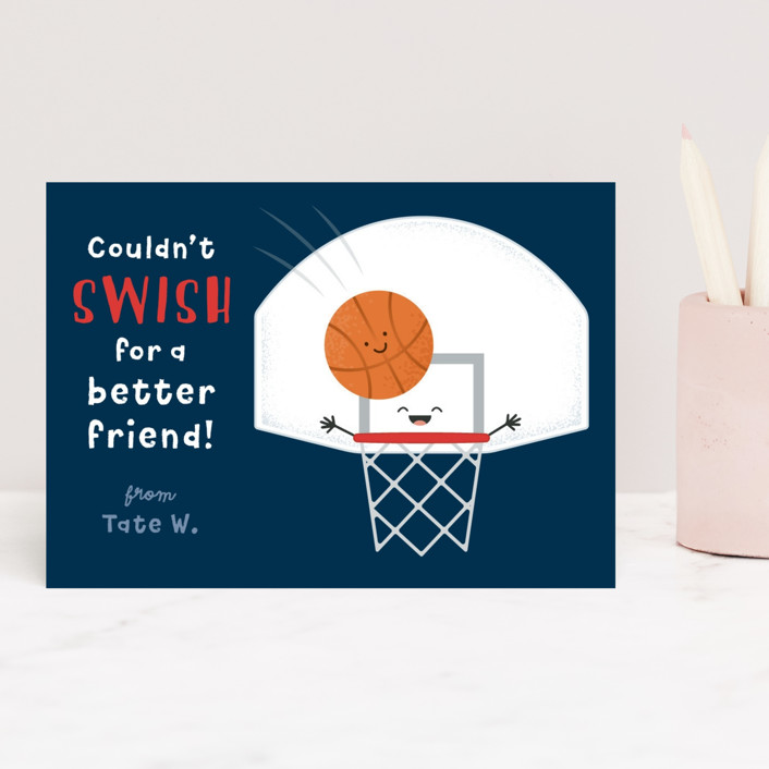 """""""Basketball Swish"""" - Classroom Valentine's Cards in Navy by Kacey Kendrick Wagner."""