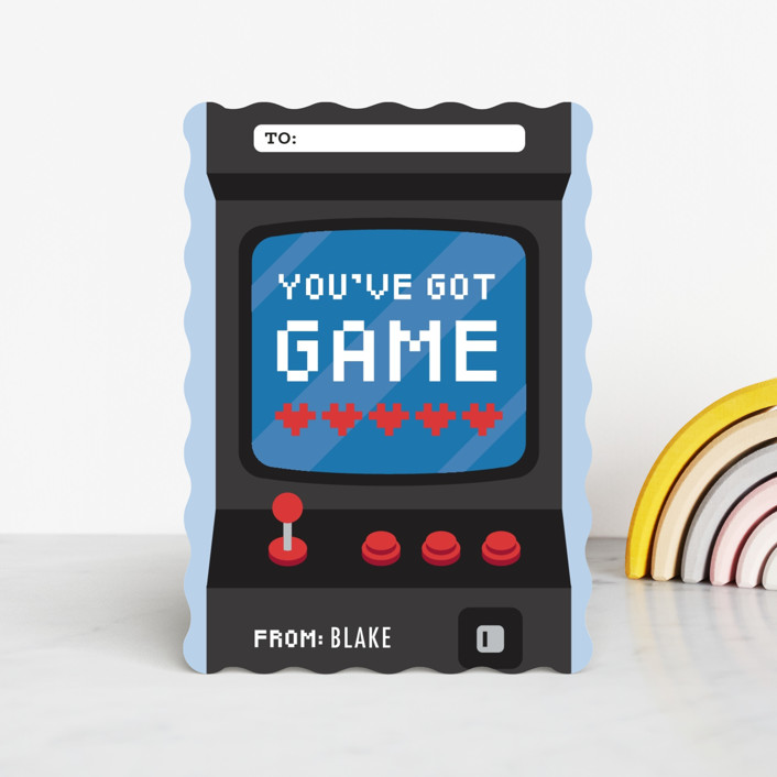 """Game"" - Classroom Valentine's Cards in Navy by Jen Banks of Ink and Letter."