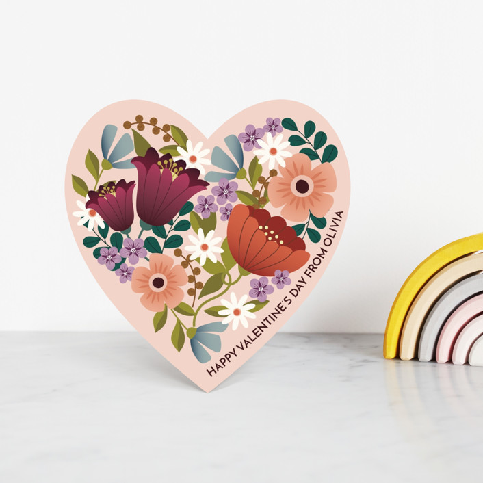 """""""Floral Heart"""" - Classroom Valentine's Cards in Blush by Lauren Brown."""