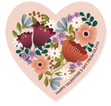 This is a pink kids valentines day card by Lauren Brown called Floral Heart with standard printing on signature in standard.