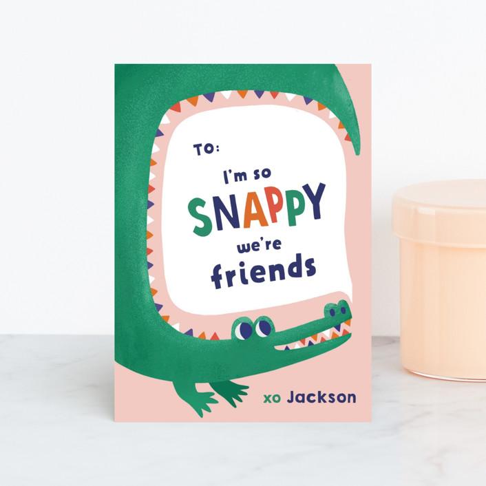 """Snappy Friends"" - Classroom Valentine's Cards in Bubblegum by Monika Drachal."